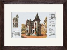 CP4124 Country house. Cross stitch kits with canvas with printed