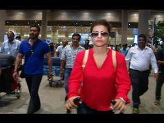 Ajay Devgan with wife Kajol Devgan & children spotted at the Mumbai airport. Also see : Shahrukh Khan & Kajol BADLY MOBBED by media & fans at Maratha Mandir. Mumbai Airport, Interview, Leather Jacket, Photoshoot, Blazer, Children, Youtube, Jackets, Fashion