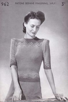 The   Vintage   Pattern   Files: 1940's Knitting - Zig Zag Top