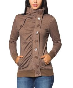 So Nice Collection Brown Button Funnel Collar Jacket by So Nice Collection #zulily #zulilyfinds