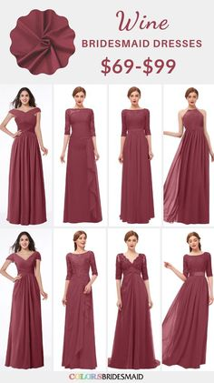 Burgundy Bridesmaid Dresses Wine color in styles long and short, under includes burgundy, wine, red bud, purpl Muslimah Wedding Dress, Muslim Wedding Dresses, Wedding Dresses For Girls, Dusty Rose Bridesmaid Dresses, Red Bridesmaids, Wine Color Bridesmaid Dress, Hijab Dress Party, Dress Brokat, Wine Dress