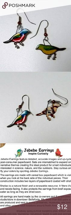 Jabebo Earrings: Painted Bunting Nature-inspired earrings, made of shellaced cereal boxes! and surgical steel wires. See third picture for more info about Jabebo earrings. 7/8 inch.  Price firm unless bundled. Check my closet for many more Jabebo Bird Earrings! jabebo Jewelry Earrings
