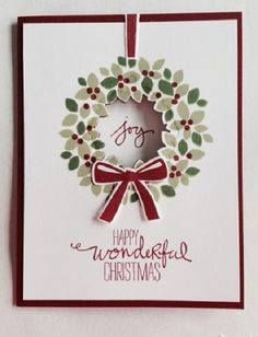 2014 Stamps: Stampin' Up! Wondrous Wreath (photopolymer – Note: Wondrous Wreath stamp set & Wonderful Wreath Framelits Endless Wishes (photopolymer – Diy Christmas Cards Stampin Up, Christmas Cards To Make, Xmas Cards, Handmade Christmas, Holiday Cards, Wondrous Wreath, Stampin Up Weihnachten, Winter Karten, Stamping Up Cards