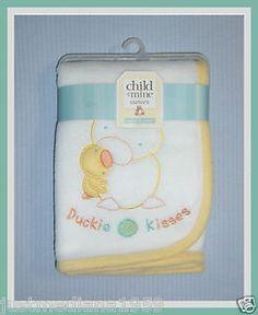 "NWT Soft White Baby Fleece Blanket - Appliqued Duckie Kisses -Ducks - 30 x 36""  - Sold April 6, 2013"