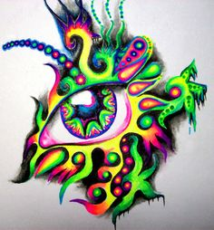 Boredom made me do it! I got super bored last night and couldn't sleep so I did another fast eye drawing. I could draw eyes all day and apparently at ni. Trippy Drawings, Colorful Drawings, Art Drawings Sketches, Hippie Painting, Trippy Painting, Gel Pen Art, Eyes Artwork, Psy Art, Arte Disney