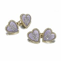 THE TWENTY-THIRD WEDDING ANNIVERSARY: A PAIR OF FABERGÉ JEWELLED GOLD AND ENAMEL CUFFLINKS,  1897 Estimate: 3,000 - 5,000 GBP  LOT SOLD. 43,250 GBP  (Hammer Price with Buyers Premium) each link heart-shaped, the ground of translucent mauve enamel over hatched engine-turning within a rose-cut diamond border, applied with diamond-set KG (Cyrillic) beneath a flourish, denoting the numeral 23 in Old Slavonic characters.  From the Romanov Heirloom sale at Sotheby's.