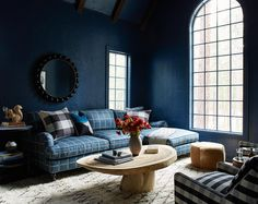 5 Fall Runway Looks To Steal For Your Home. Moody blue plaid Tahoe living room by Consort Consort Design, Stone Fireplace Wall, Natural Stone Fireplaces, Family Room Decorating, Traditional House, House Colors, Beautiful Homes, Modern Furniture, House Design