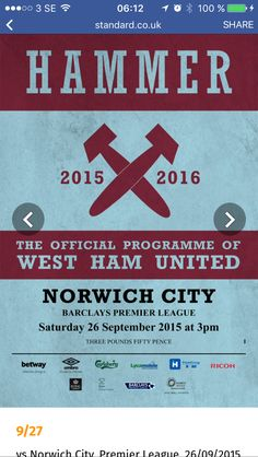 Into West Ham United? Browse our library of Official and fully licensed West Ham United Programmes and Publications West Ham United Fc, 1966 World Cup, Fa Cup Final, Barclay Premier League, Football Program, City, Cities