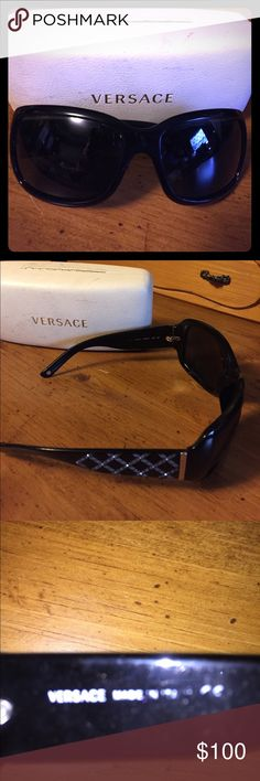 d8a223ca0b19 Shop Women s Versace Black Silver size OS Glasses at a discounted price at  Poshmark. Description  Black with bling Versace sunglasses.