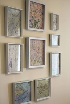 Gallery wall - framed maps from travels. Or you know, one of those boards that Sherlock has with all the strings... @Lisa Phillips-Barton Hanks