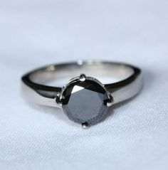 2ct Black Diamond Solitaire ring in Titanium or by TheAladdinsCave