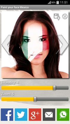 Paint your face with the colors of your country! With this great application you can encourage Mexico whenever you want. In addition, you can easily send your pictures to friends by social networks. <p>How to use:<br>-Get a picture of your face using the camera or gallery. <br>-Choose a flag design that you like by pressing the arrows. <br>-Change the zoom or the intensity. <br>-Save the photo and / or share it with your friends.<p>Football, Soccer, 2014 FIFA World Cup, Championship, Brazil…