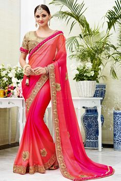 Peach Pink Designer Wedding Wear Saree With Heavy Lace Border Patang Catalog 3903