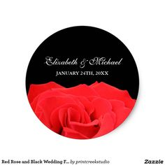 Red Rose and Black Wedding Favor Label Classic Round Sticker Wedding Favor Labels, Black Wedding Invitations, Personalized Wedding Favors, Wedding Envelopes, Save The Date Invitations, Diy Wedding Favors, Wedding Ideas, Wedding Stickers, Red Wedding