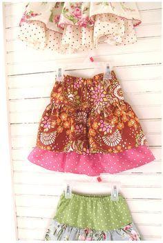 Ruffled skirts for little girls! So simple! Made with three rectangles of fabric and some elastic. Can't wait to make some!
