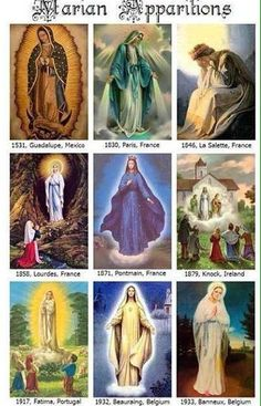Just a selection of the many apparitions of Mother Mary Guadalupe, Paris, France La Salette, Pontmain, Fr…