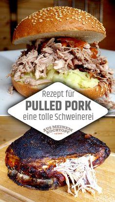 Pulled Pork Rezept - Wirklich eine tolle Schweinerei Do pulled pork yourself? This is really a great mess. Pulled pork recipe to make yourself! Pulled pork is plucked pork and the supreme discipline i Pulled Pork Receta, Pulled Pork Marinade, Pulled Pork Rub, Pulled Pork Burger, Pork Burgers, Pulled Pork Recipes, Chicken Sandwich Recipes, Shredded Chicken Recipes, Egg Recipes