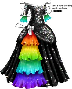 A masquerade gown with a black bodice, covered with sparkling sequins which subtly shine in blue, red, green, purple and yellow. The neckline is off the shoulders and slightly V-shaped, and is trimmed with a line of white ribbon. The sleeves are three-quarter, and their edges are trimmed with more white ribbon. There are long ruffles attached to the edges of the sleeves, and they are a gradient of green to blue, decorated with a pattern of mist and stars. The bodice extends over the top of…
