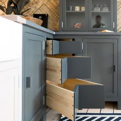 Heart of craft: kitchen by kent & london. kitchen spacious wooden w Wood Storage, Storage Drawers, Diy Storage, Storage Spaces, Smart Storage, Storage Ideas, Corner Drawers, Cabinet Drawers, Small House Kitchen Ideas