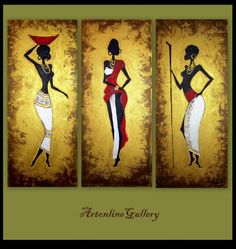 Original Painting African Women Triptych by ArtonlineGallery, $275.00