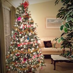 Day 29. So, this happened today... Our 6 year old prelit tree died ���� so, off to Lowes the hubby went and got us this new tree that is just GORGEOUS. ������ that was of course after 2 hours of him tr