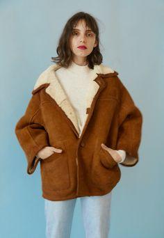 manteau court peau lainée femme