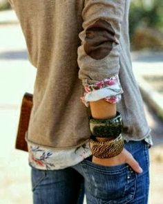 Dark grey cardigan with brown patch, flowery shirt, bracelet and jeans fashion for fall