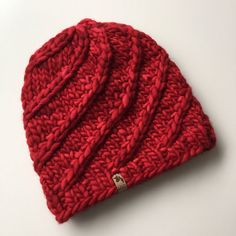 Chunky Knit Beanie Adult or Teen Size Merino Wool by IsolaHandmade