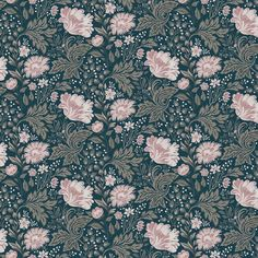 Wallpaper Ava Green/Turquoise/Blue // Kubel dark blue is a new colourway of Sandbergs classic. A large patterned floral wallpaper that works well