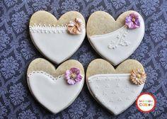 Cookie Wedding Favor- 1 Dozen Bride Heart Cookie Favors, Wedding Cookies,  Bridal Shower Cookies, Bride's Maids Gifts