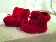 red crocheted boots