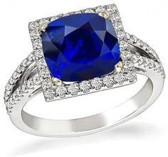 Cushion Cut Sapphire Round Cut Diamond 18k Gold Engagement Ring