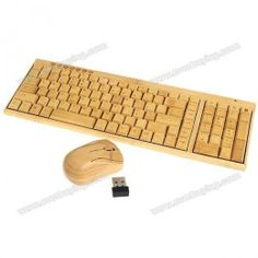 KG201  MG94 Eco-friendly Bamboo 2.4GHz Multi-media Wireless Keyboard and Mouse Combo -Yellow $22.99
