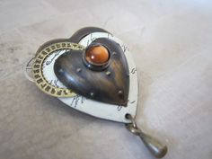 Handmade Metal Heart 3D Pin w Center Stone by JewelsOfHighElegance, $12.75