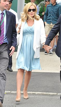 Beautiful in blue: The stunning soprano dressed her lovely pregnancy figure in an empire-line pale blue mid-length dress Maternity Fashion, Maternity Dresses, Katherine Jenkins, Mid Length Dresses, Kylie Minogue, Vintage Lingerie, Female Singers, Celebs, Celebrities
