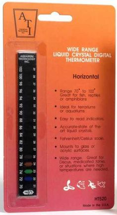 The Wide Range Liquid Crystal Thermometer is available in either vertical or horizontal models. Both are very accurate and read temperature in 2 degree increments from 70 - 102 Degrees F / 21 - 39 Degrees C. Fish Room, Terrarium Supplies, Vertical Or Horizontal, Digital Technology, Range, Models, Crystals, Reading, Templates