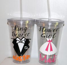 Personalized Flower Girl or Ring Bearer by dreamingdandelions, $9.50    I know Jamies would love his own glass with a straw