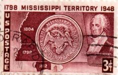 US postage stamp, 3 cents.  Mississippi Territory (1798 - 1948).  Issued 1948.  Scott catalog 955.