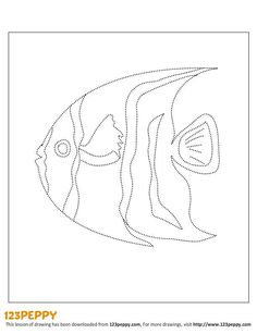 Printable How to Draw Pattern - French Angelfish