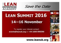 Lean Summit 2016 - Lean Transformations 14th - 16th November 2016 Lean Enterprise, Current Events, Summit 2016, November