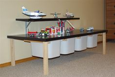 DIY lego storage table: I like the shelf above for keeping finished masterpieces out of the way