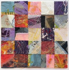 Tansy Hargan - Composite embroidery (15cm sq). Linen and cotton fabric, acrylic paint, pigment ink, silk and cotton threads