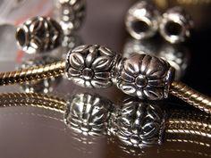 "2 Silver Flower Spacer Fits Bead European Charm Bracelet 7/16""Wide Buy5-FreeShip #Handmade #European"