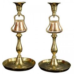Marvin Alexander,Inc. Pair of turned brass one pub light candlesticks with bar maid call bells. Can be wired as lamps, England, 19th century.