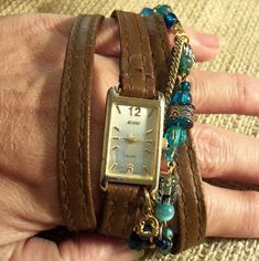Wrapped Watch Tutorial using old purse straps!  Cool!