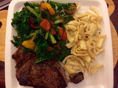 Steak with kale and tomatoes side with konjac penne pasta