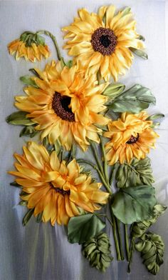 Silk Ribbon Embroidery, wild sunflowers.