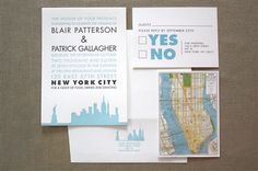 City Skyline Silhouette Letterpress Wedding Invitation