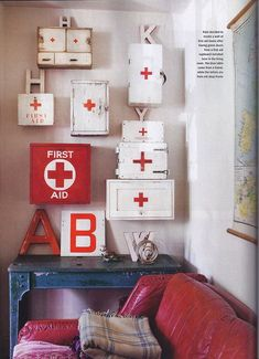 Vintage first aid boxes We've just had a lovely little mention in the current edition of Homes & Antiques magazine. This particular article was all about vintage first aid boxes. Decor, Green Door, Crosses Decor, Vintage Medical, Medical Decor, Holiday Decor, Girl Scout Crafts, Dollar Store Crafts, Vintage
