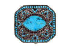 Silver & Gem-set Box w/Turquoise Rose cut Garnets-Just